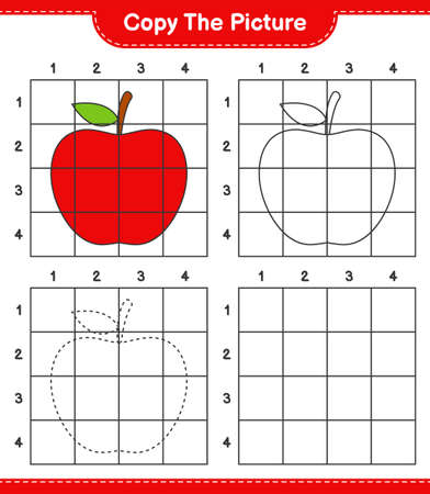 Copy the picture, copy the picture of Apple using grid lines. Educational children game, printable worksheet, vector illustration