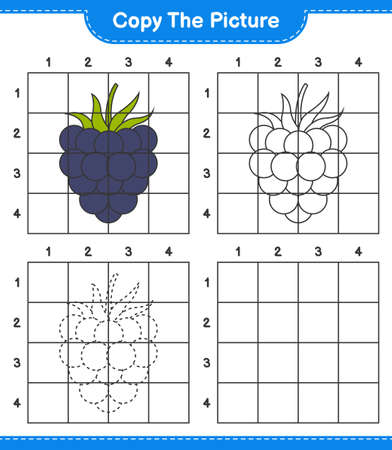 Copy the picture, copy the picture of Blackberries using grid lines. Educational children game, printable worksheet, vector illustration