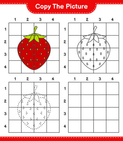 Copy the picture, copy the picture of Strawberry using grid lines. Educational children game, printable worksheet, vector illustration