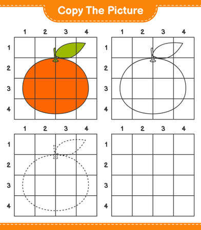 Copy the picture, copy the picture of Tangerin using grid lines. Educational children game, printable worksheet, vector illustration