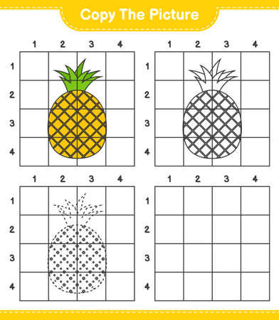 Copy the picture, copy the picture of Pineapple using grid lines. Educational children game, printable worksheet, vector illustration Ilustrace