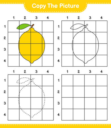 Copy the picture, copy the picture of Lemon using grid lines. Educational children game, printable worksheet, vector illustration