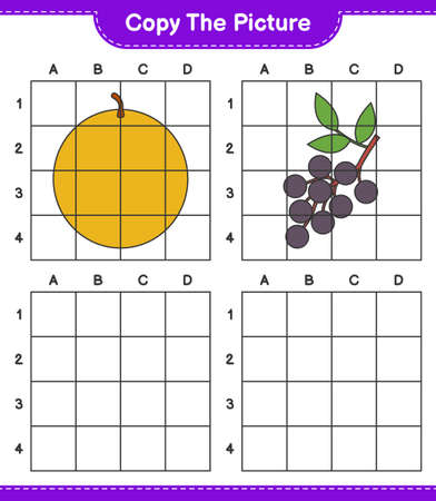 Copy the picture, copy the picture of Fruits using grid lines. Educational children game, printable worksheet, vector illustration