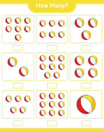 Counting game, how many Beach Ball. Educational children game, printable worksheet, vector illustration Vektoros illusztráció