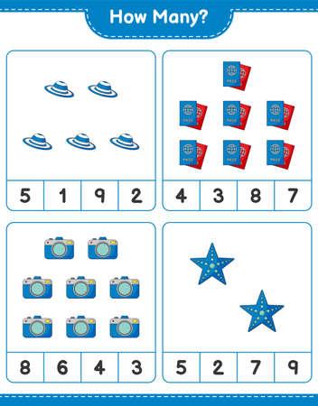 Counting game, how many Camera, Summer Hat, Starfish, and Passport. Educational children game, printable worksheet, vector illustration Ilustração