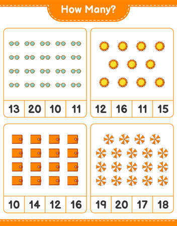 Counting game, how many Sun, Beach Umbrella, Wallet, and Sunglasses. Educational children game, printable worksheet, vector illustration