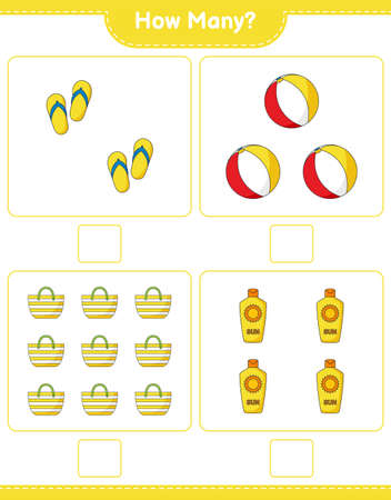 Counting game, how many Flip Flop, Beach Ball, Sunscreen, and Beach Bag. Educational children game, printable worksheet, vector illustration