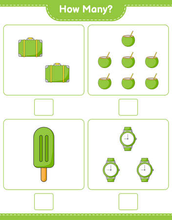Counting game, how many Luggage, Coconut, Ice Cream, and Watches. Educational children game, printable worksheet, vector illustration Ilustração