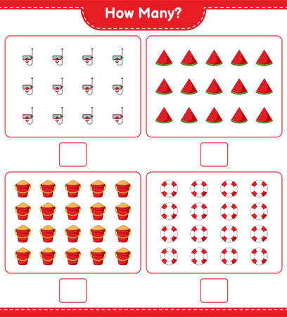 Counting game, how many Watermelon, Lifebuoy, Scuba Diving Mask, and Sand Bucket. Educational children game, printable worksheet, vector illustration