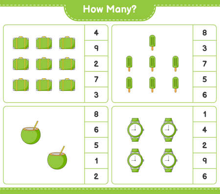 Counting game, how many Luggage, Coconut, Ice Cream, and Watches. Educational children game, printable worksheet, vector illustration Imagens - 167949476