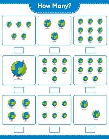 Counting game, how many Globe. Educational children game, printable worksheet, vector illustration Ilustração