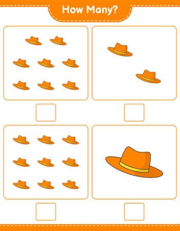 Counting game, how many Summer Hat. Educational children game, printable worksheet, vector illustration