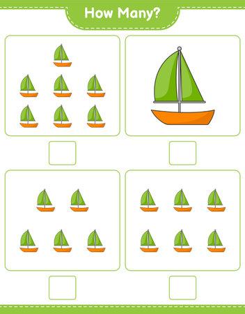 Counting game, how many Sailboat. Educational children game, printable worksheet, vector illustration Ilustração