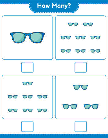 Counting game, how many Sunglasses. Educational children game, printable worksheet, vector illustration