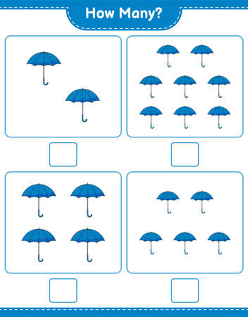 Counting game, how many Umbrella. Educational children game, printable worksheet, vector illustration