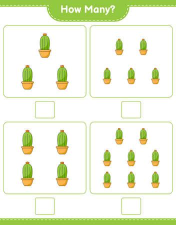 Counting game, how many Cactus. Educational children game, printable worksheet, vector illustration Ilustração