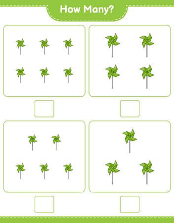 Counting game, how many Pinwheels. Educational children game, printable worksheet, vector illustration Ilustração