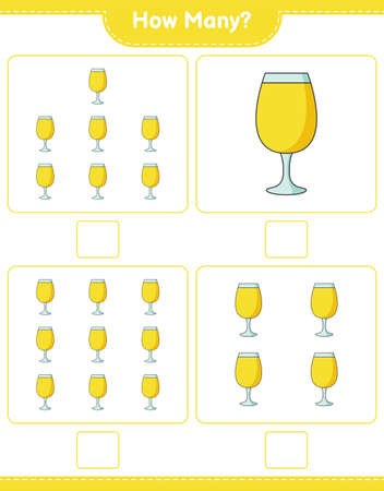Counting game, how many Cocktail. Educational children game, printable worksheet, vector illustration Ilustração