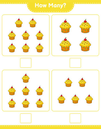 Counting game, how many Cup Cake. Educational children game, printable worksheet, vector illustration