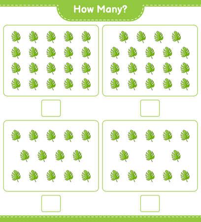 Counting game, how many Monstera. Educational children game, printable worksheet, vector illustration Ilustração