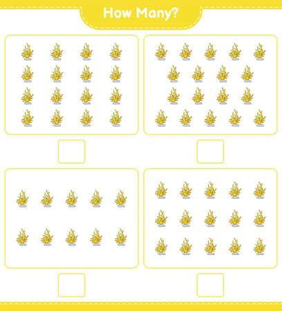 Counting game, how many Coral. Educational children game, printable worksheet, vector illustration