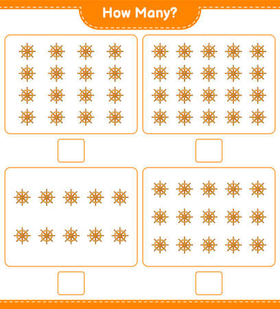 Counting game, how many Ship Steering Wheel. Educational children game, printable worksheet, vector illustration