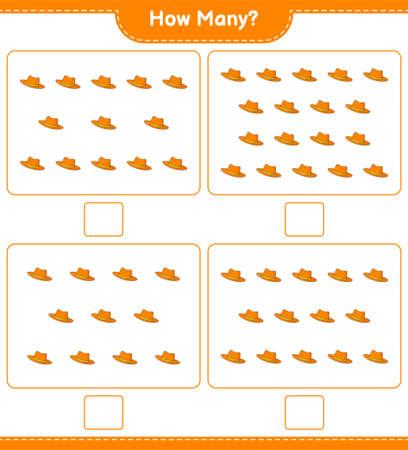 Counting game, how many Summer Hat. Educational children game, printable worksheet, vector illustration Imagens - 168310907