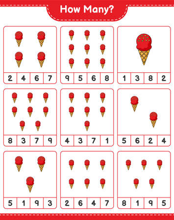 Counting game, how many Ice Cream. Educational children game, printable worksheet, vector illustration