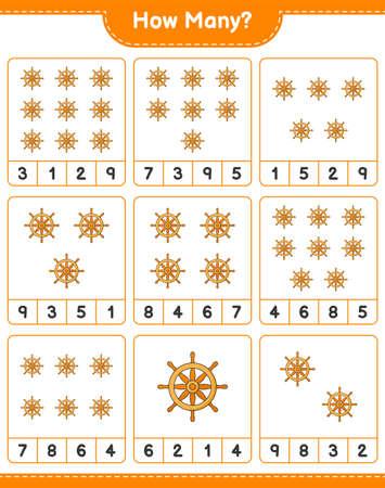 Counting game, how many Ship Steering Wheel. Educational children game, printable worksheet, vector illustration Imagens - 168310919