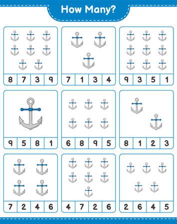 Counting game, how many Anchor. Educational children game, printable worksheet, vector illustration Ilustração