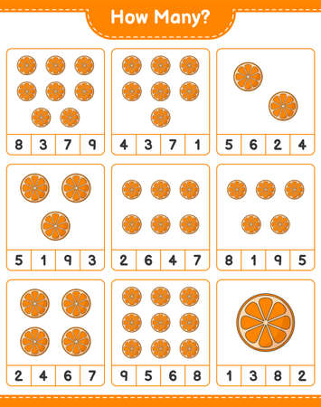 Counting game, how many Orange. Educational children game, printable worksheet, vector illustration