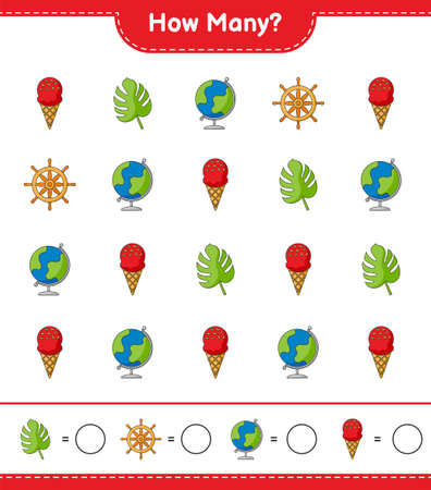 Counting game, how many Globe, Ice Cream, Monstera, and Ship Steering Wheel. Educational children game, printable worksheet, vector illustration