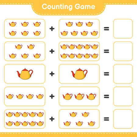 Counting game, count the number of Tea Pot and write the result. Educational children game, printable worksheet, vector illustration Vetores