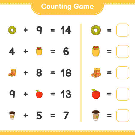 Counting game, count the number of Donut, Jam, Socks, Apple, Tea Cup and write the result. Educational children game, printable worksheet, vector illustration