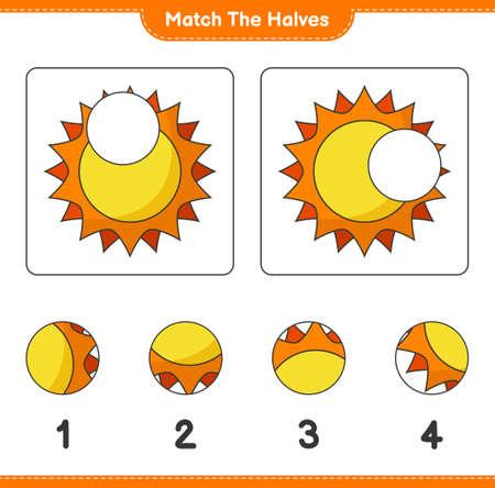 Match the halves. Match halves of Sun. Educational children game, printable worksheet, vector illustration