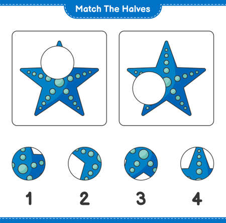 Match the halves. Match halves of Starfish. Educational children game, printable worksheet, vector illustration