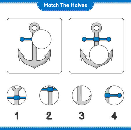 Match the halves. Match halves of Anchor. Educational children game, printable worksheet, vector illustration