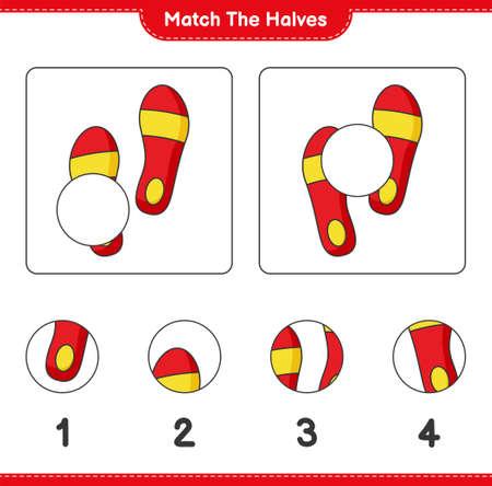 Match the halves. Match halves of Flip Flop. Educational children game, printable worksheet, vector illustration