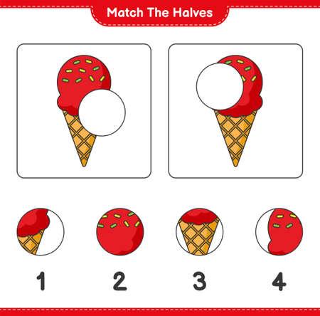 Match the halves. Match halves of Ice Cream. Educational children game, printable worksheet, vector illustration