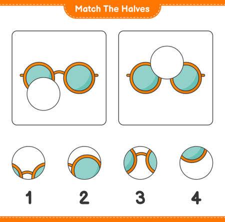 Match the halves. Match halves of Sunglasses. Educational children game, printable worksheet, vector illustration