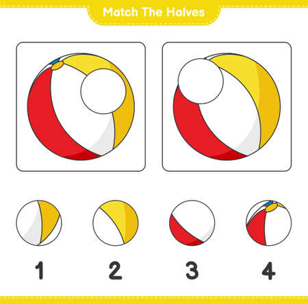 Match the halves. Match halves of Beach Ball. Educational children game, printable worksheet, vector illustration