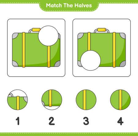 Match the halves. Match halves of Luggage. Educational children game, printable worksheet, vector illustration