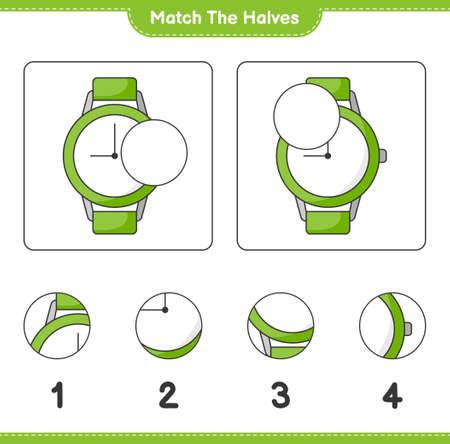 Match the halves. Match halves of Watches. Educational children game, printable worksheet, vector illustration
