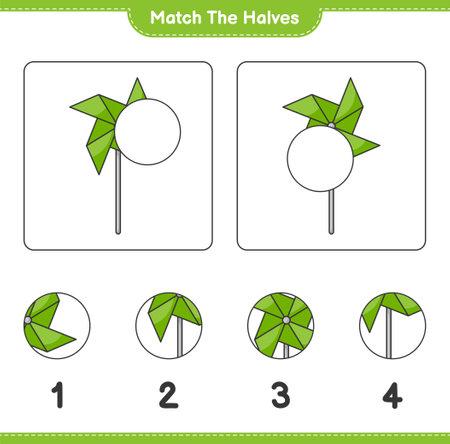 Match the halves. Match halves of Pinwheels. Educational children game, printable worksheet, vector illustration Ilustração
