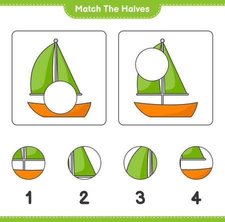 Match the halves. Match halves of Sailboat. Educational children game, printable worksheet, vector illustration Ilustração