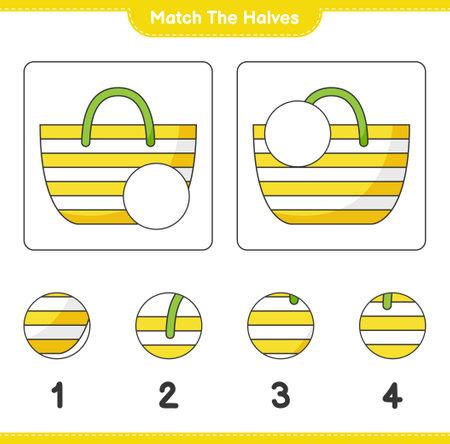 Match the halves. Match halves of Beach Bag. Educational children game, printable worksheet, vector illustration