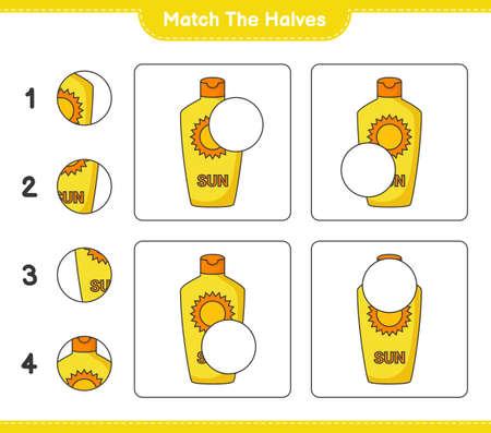 Match the halves. Match halves of Sunscreen. Educational children game, printable worksheet, vector illustration Ilustração