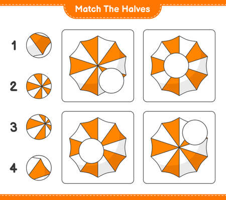 Match the halves. Match halves of Beach Umbrella. Educational children game, printable worksheet, vector illustration