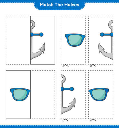 Match the halves. Match halves of Sunglasses and Anchor. Educational children game, printable worksheet, vector illustration