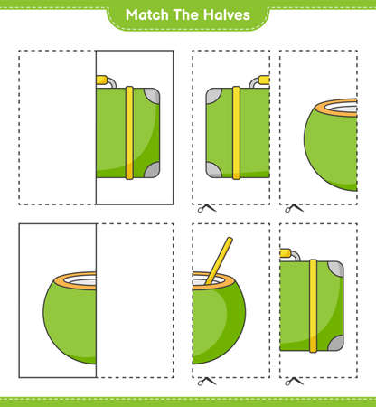 Match the halves. Match halves of Luggage and Coconut. Educational children game, printable worksheet, vector illustration